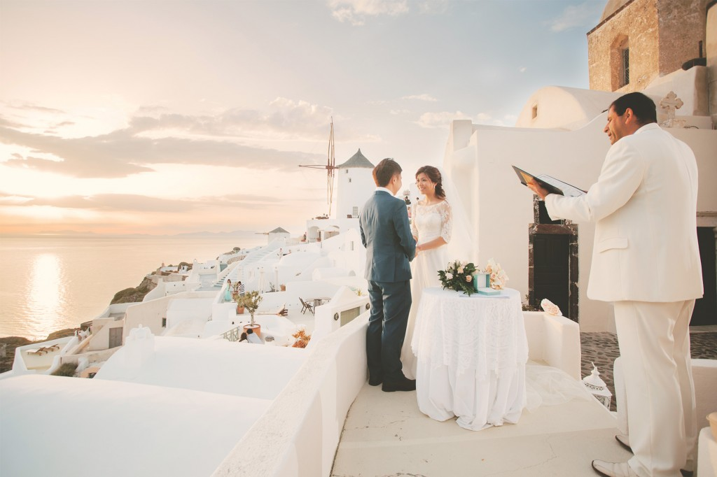 Santorini wedding. Photo by Jon Low Studios. Source
