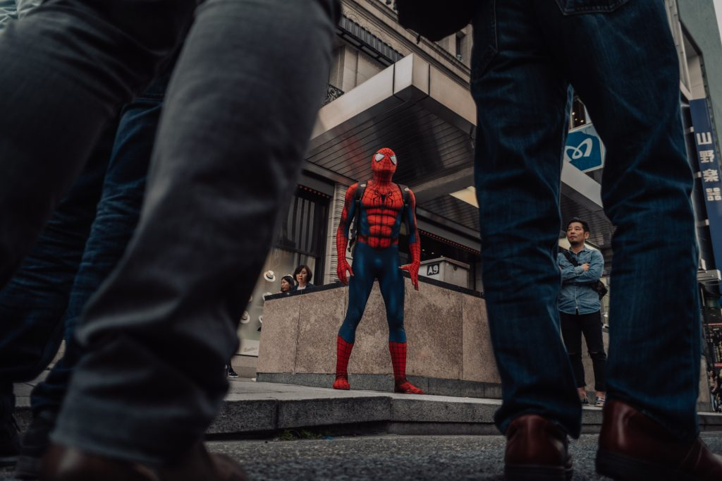 Spotted Spiderman, your friendly neighbourhood superhero in Ginza